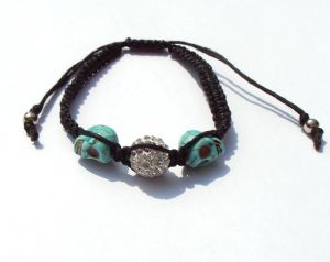 Shamballa black Bracelet with Crystal ball & 2 turquoise skulls with silver coloured beads
